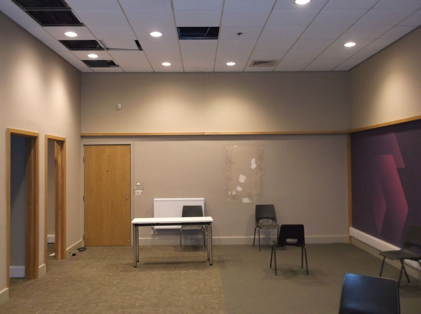 well-lit meeting room with carpeted floor, wooden doors, and velvet abstract side wall design