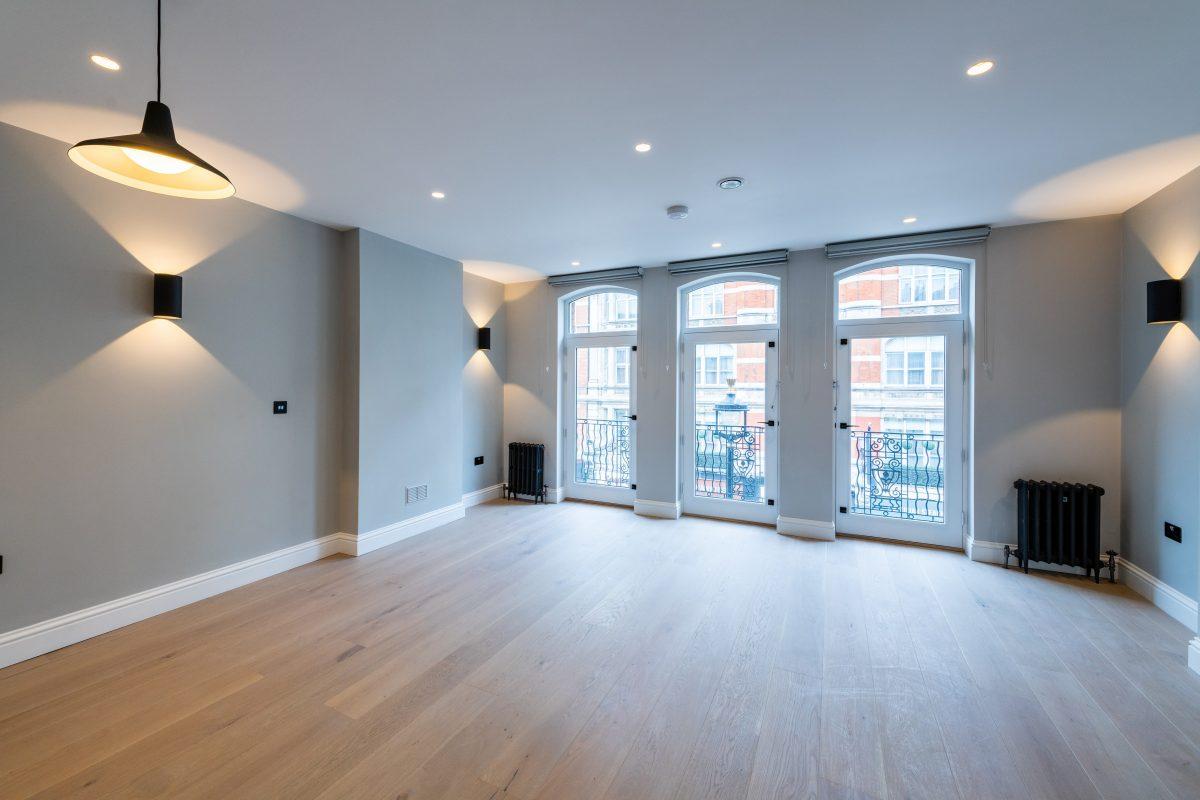 wide angle of the modern living room showroom
